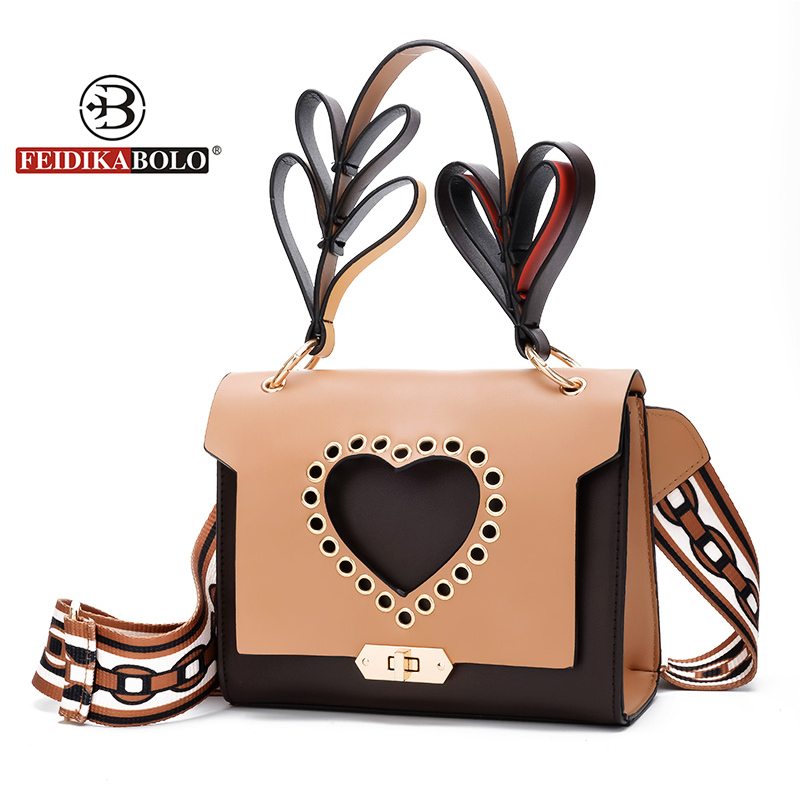 FEIDIKABOLO Brand Women Peach Heart Hand bag Pu Leather Handbag Shoulder Bag Messenger Fashion Women Female Bolsa Feminina Femme