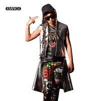 Man PU Leather Vest Sleeveless Jacket Coat Stage Singer DJ Costume Hem Can Be Removed Men