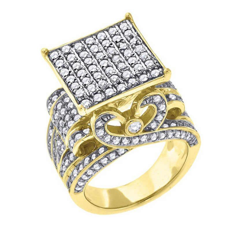 למעלה איכות כסף/זהב צבע מיקרו פייב CZ ריינסטון טבעת יוקרה גברים של תכשיטי גיאומטריה אייס Out בלינג גדול טבעות Anillo L4N952