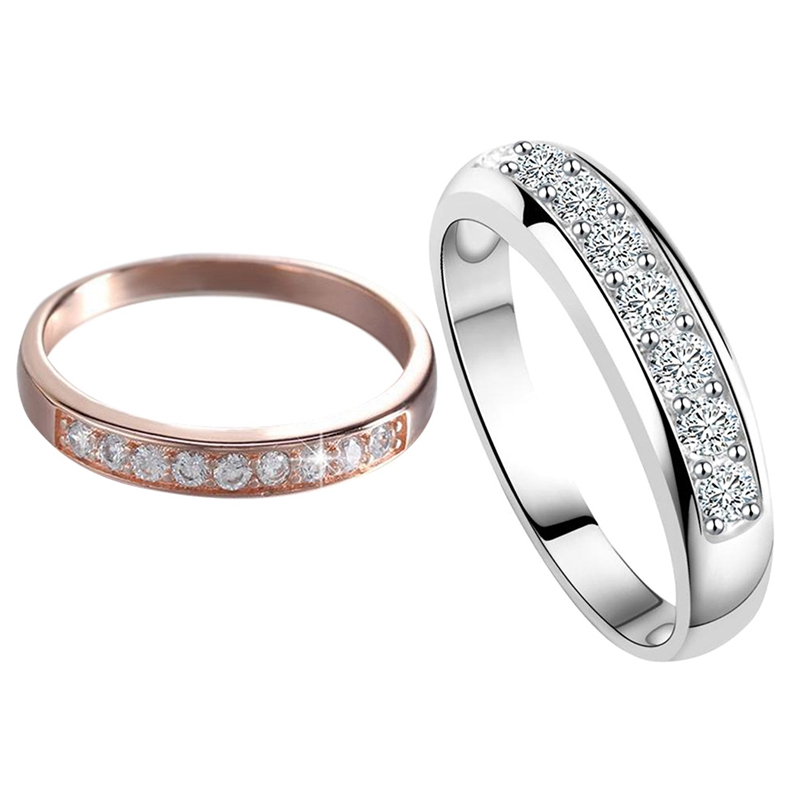 White Gold Color  Bridal Wedding Jewelry AAA Zircon Birthstone Finger Ring Fashion Single Round Rings For Women