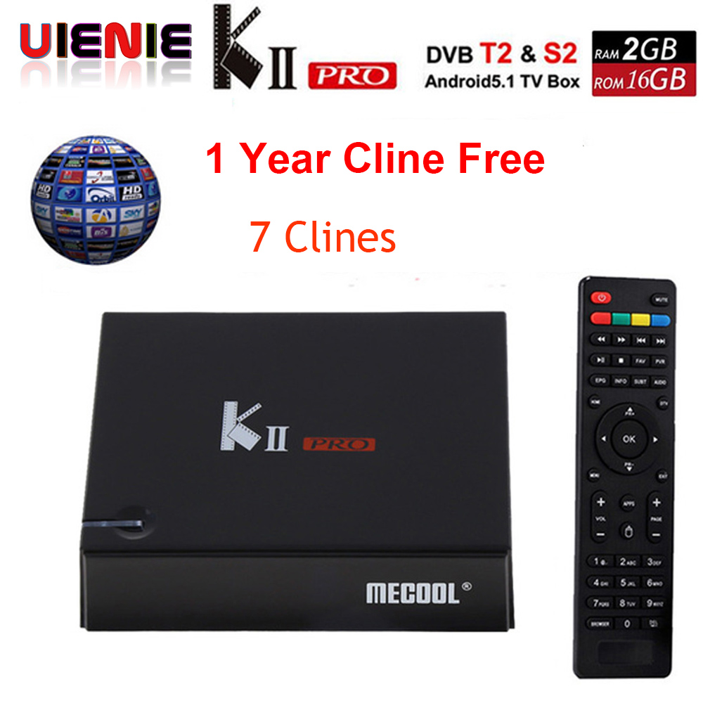 Europe Clines For 1 Year KII Pro Android Tv Box DVB-T2 DVB-S2 Amlogic S905 2GB/16GB Android 7.1 Tv Box WiFi BT4.0 HDMI 4K Player