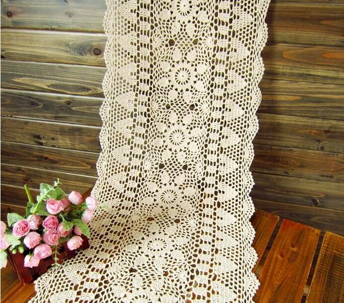 Ganchillo hecho a mano hueco flor camino de mesa rectangular mantel ...
