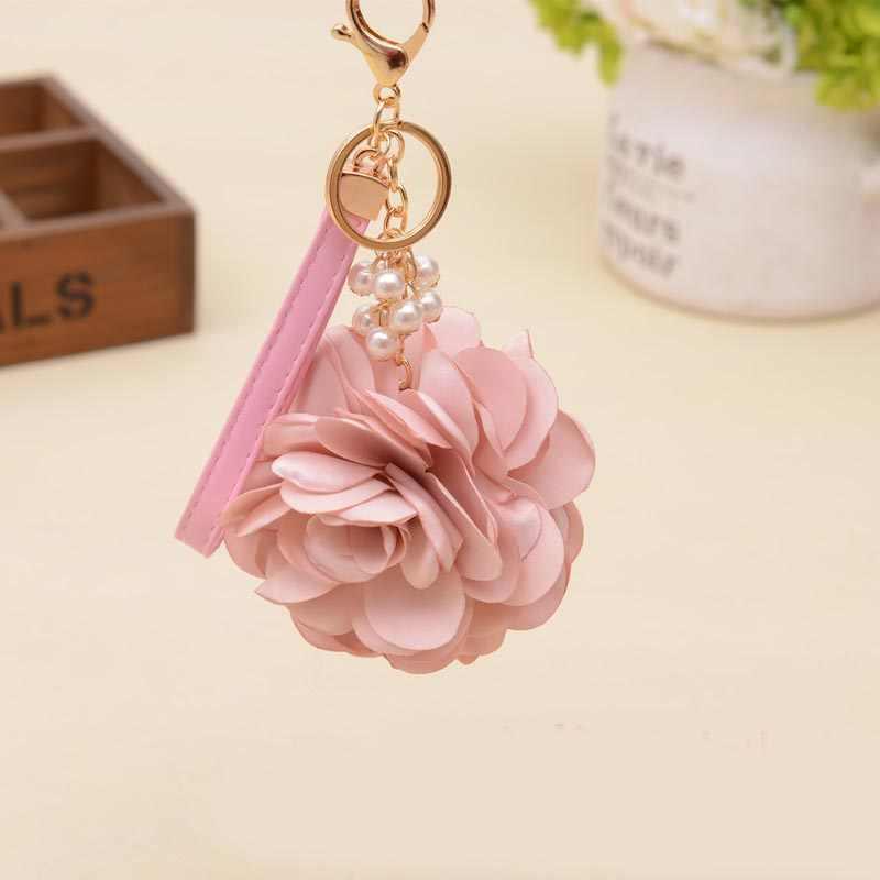 Felyskep camélia rosa chaveiro feminino romântico saco pingente charme flores chaveiro fivela chaveiro titular 075wa