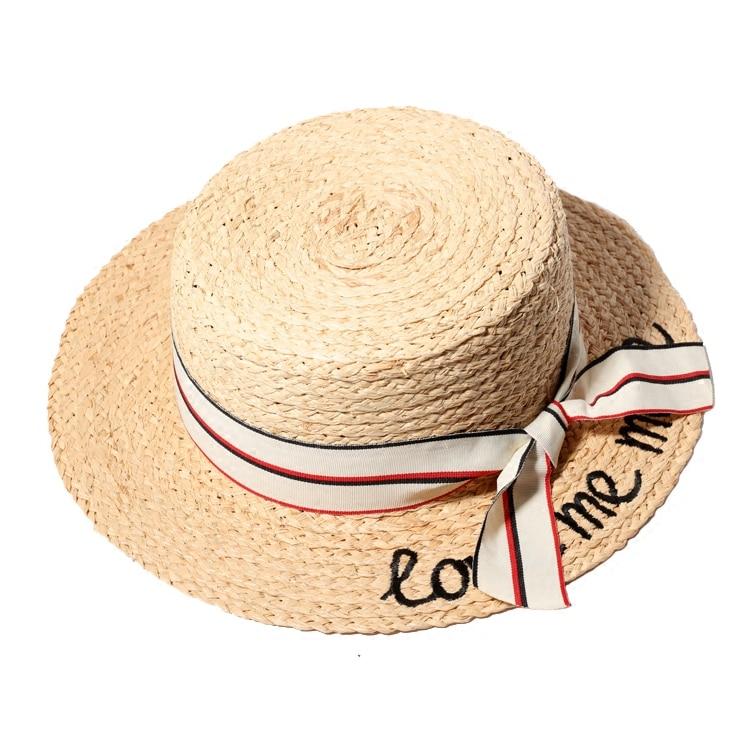 Mujeres Verano Sombreros de Paja Carta Love Me More Bordado Sombreros - Accesorios para la ropa