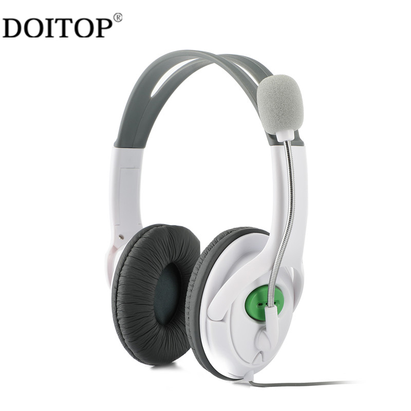 DOITOP Games Bass Universal Headphones Wired Stereo Gaming Headset Headphone For XBOX 360 With Mic Voice Control Game Earphones 3 5mm universal gaming over ear headset earphones computer game headphones with microphone for gamer stereo bass for computer pc