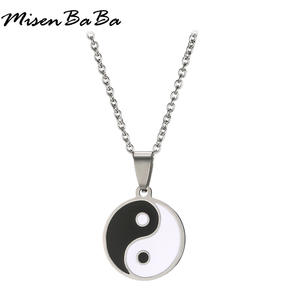 Men's Stainless Steel Necklace Chinese Style Yin Yang Tai Chi Pendant Necklace for Men