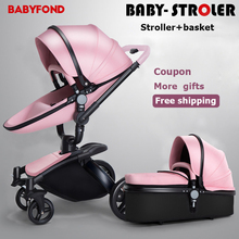 Free Ship! Factory Sale Babyfond Baby Stroller Golden Frame All Leather 360 High View Car 2 in 1 baby pram extra gifts send