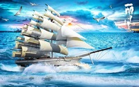 customize 3d wallpaper walls Sailing in the sea wall papers home decor living room 3d stereoscopic video chinese wallpaper