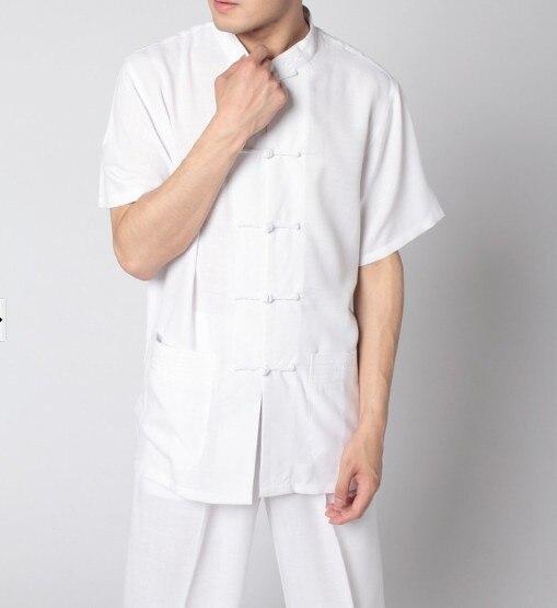 New Fashion White Mens Cotton Shirt Top Chinese Mandarin Collar Blouse Classic Button Kung Fu Costume S M L XL XXL XXXL MS004