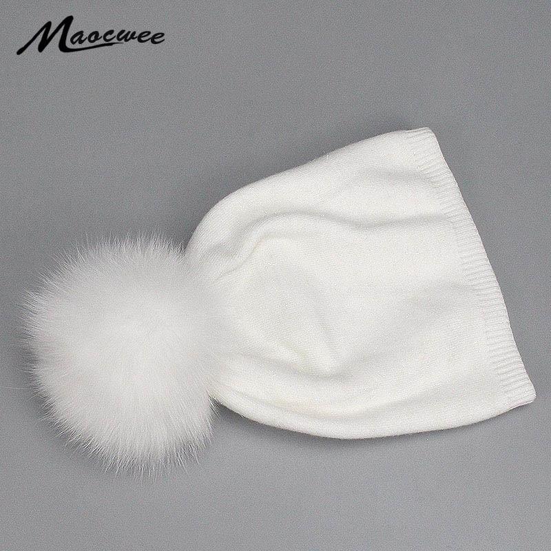 Women Pom Pom Beanies Hats Nature Fox Fur Pompon Cap Knitted Wool Soft Warm Solid White Black Hat Girl Fur Pompom Crochet Bones