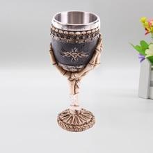 Free Shipping 1Piece Ossuary Style Skeletal Skull Wine Goblet Bones Skull Armor Cup Skull Warrior Gothic Goblet mugs
