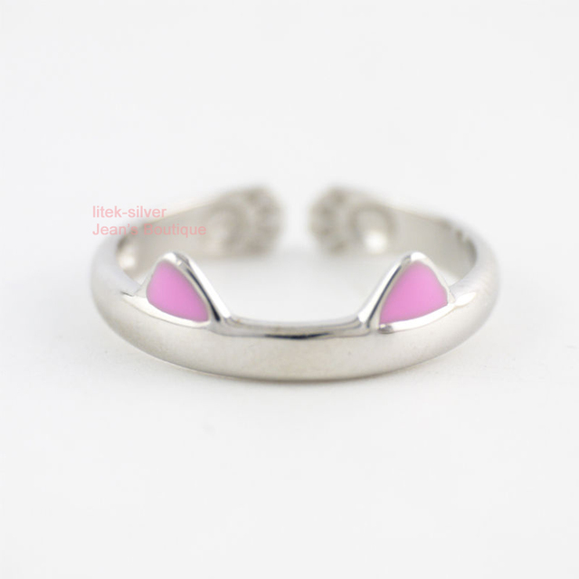 Ring In Kaars.925 Sterling Silver Lovely Pink Cat Ears Size 5 Open Adjustable Ring