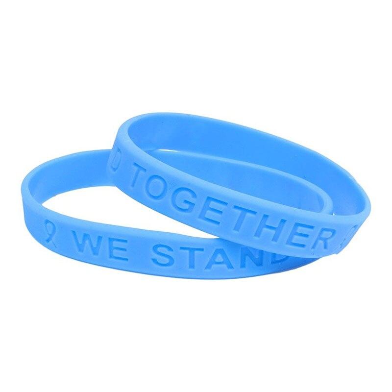 Douane 150 pièces Pack Silicone bracelets bleu clair ruban sensibilisation Silicone Bracelet haute qualité Silicone Bracelet Promotion