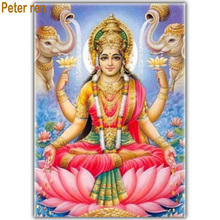 3d full diamond painting God of wealth embroidery Lakshmi square mosaic Elephant picture rhinestones lotus