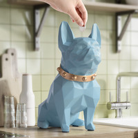 Simulation Animals Bulldog Dog Statue Piggy Bank Resin Craftwork Northern Europe Home Decor Stores L2978