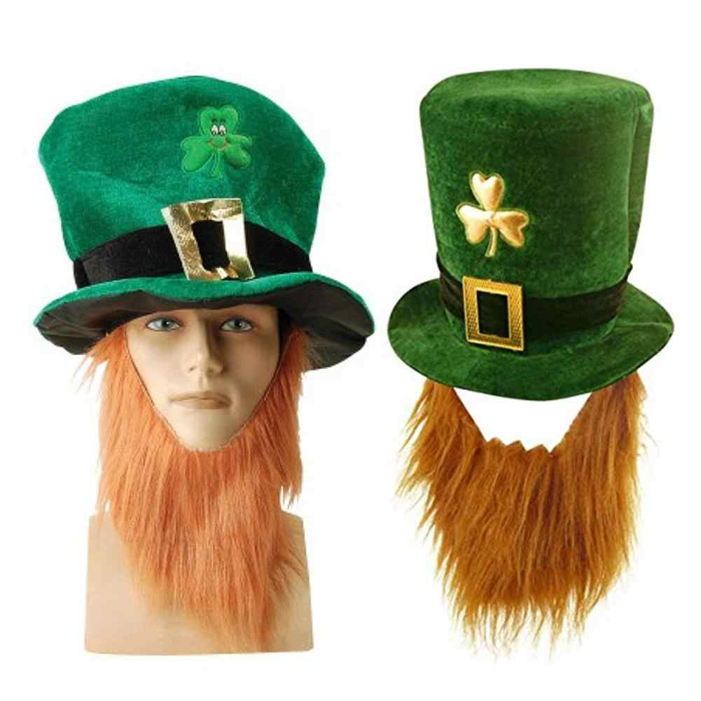 80b396985d8 Funny Clover Faux Long Beard Stovepipe Hat St Patrick Day Costume  Decoration Party Hats