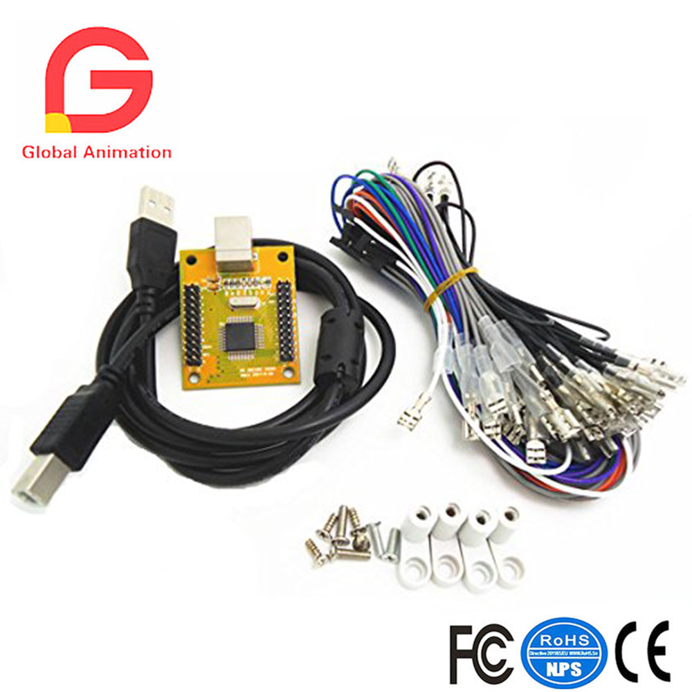 6.3mm connector for joystick and button 2 player PCPS/3 2 IN 1 Arcade to USB controller 2 player MAME Multicade Keyboard Encoder