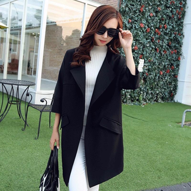 2016-Women-Spring-Coat-New-Fashion-Female-O-Neck-Three-Quarter-Sleeve-Women-Trench-Coat-Spring (5)