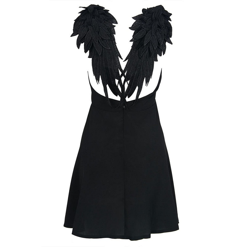 2ee2710c9d Summer Embroidery Dark Angel Wings Gothic Backless Black White Sexy Party Club  Dress M-XL