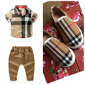 Plaid time short+pants+shoes clothing set summer baby boys short clothing sport suit child active costume boy plaid suits
