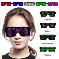 Gafas LED para fiesta gafas luminosas carga USB vidrio de neón brillante Navidad gafas de sol de luz intermitente brillante para Halloween suministros para EL