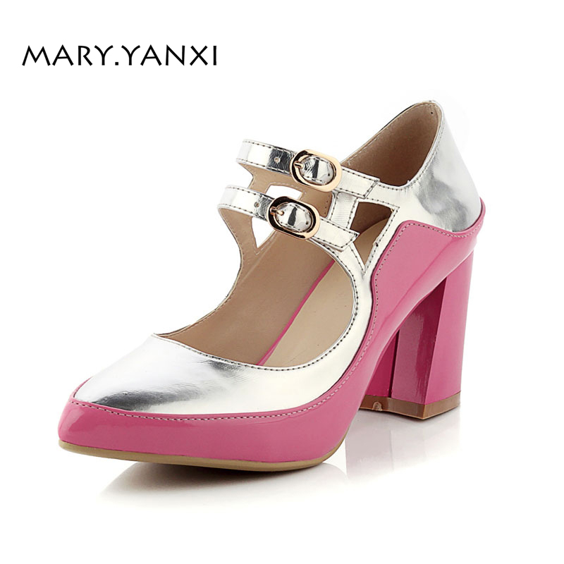 Spring/Autumn Women Pumps Mary Janes Big Size Shoes High Square Heels Pointes Toe Casual Fashion Shallow Mixed Color Hook & Loop spring autumn women shoes fashion rhinestone slip on round toe flats shallow mouth mature shoes mary janes casual loafers shoes