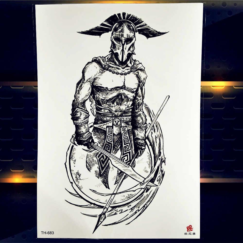 영웅 스파르타 전사 임시 문신 스티커 방수 가짜 기사 용감한 남자 방수 대형 팔 문신 종이 데칼 남자