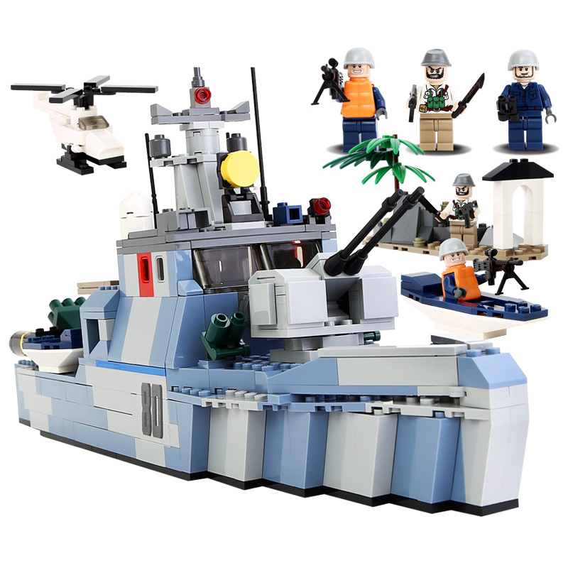 GUDI Military Educational Building Blocks Toy For Children Gifts Army Ship Helicopter Soldier Weapon Compatible Legoe детское лего gudi