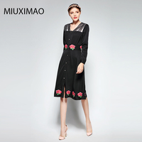 Famous Brand Runaway 2017 Newest Spring Fashion Slim Elegant Ebroidery Rose Flower Vintage Casual Long Dress