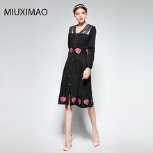 Famous brand Runaway 2018 Newest  Spring Fashion Slim Elegant Ebroidery Rose Flower Vintage Casual Long Dress Women