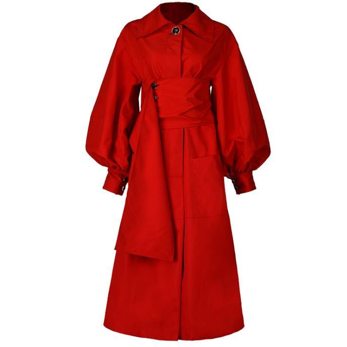 Red   Trench   Coats Lantern Sleeve women Belt Girdle Back Split Women's Windbreaker 2019 Autumn Fashion New