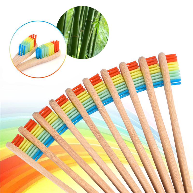 1/3/5/10 PCS Natural Eco Friendly Bamboo Handle Toothbrush Rainbow Colorful Whitening Soft Bristles Bamboo Toothbrush Oral Care image