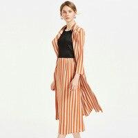 Midi Skirt Plus Size Women 2018 Autumn New Striped Big Stretch Miyake Pleats Mid calf Skirt Female Free Shipping