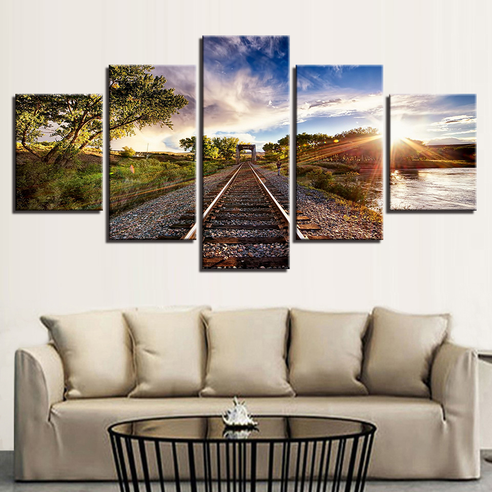 Canvas Artwork Modern Painting Print 5 Panel Blue Sky Railway Home Decor Pictures Sights Sunset Trees Wall Art Printed Poster