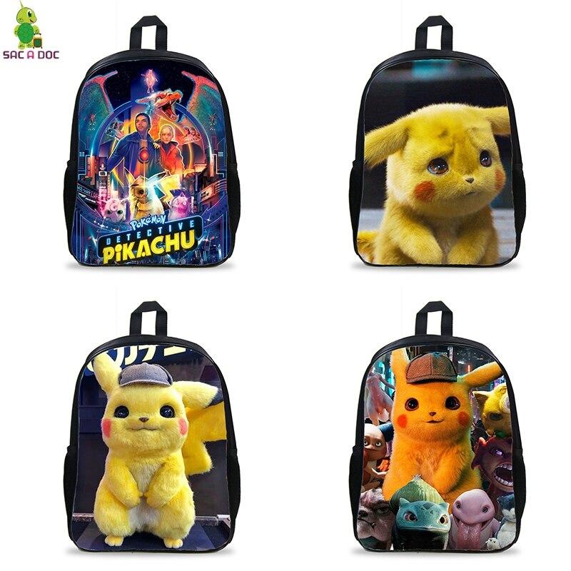 Cartoon Pokémon Detective Pikachu Backpack Student School Shoulder Bag Unisex
