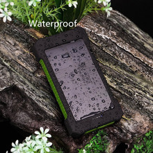 Top Solar Power Bank Waterproof 10000mAh Solar Charger 2 USB Ports External Charger Powerbank for Smartphone with LED Light