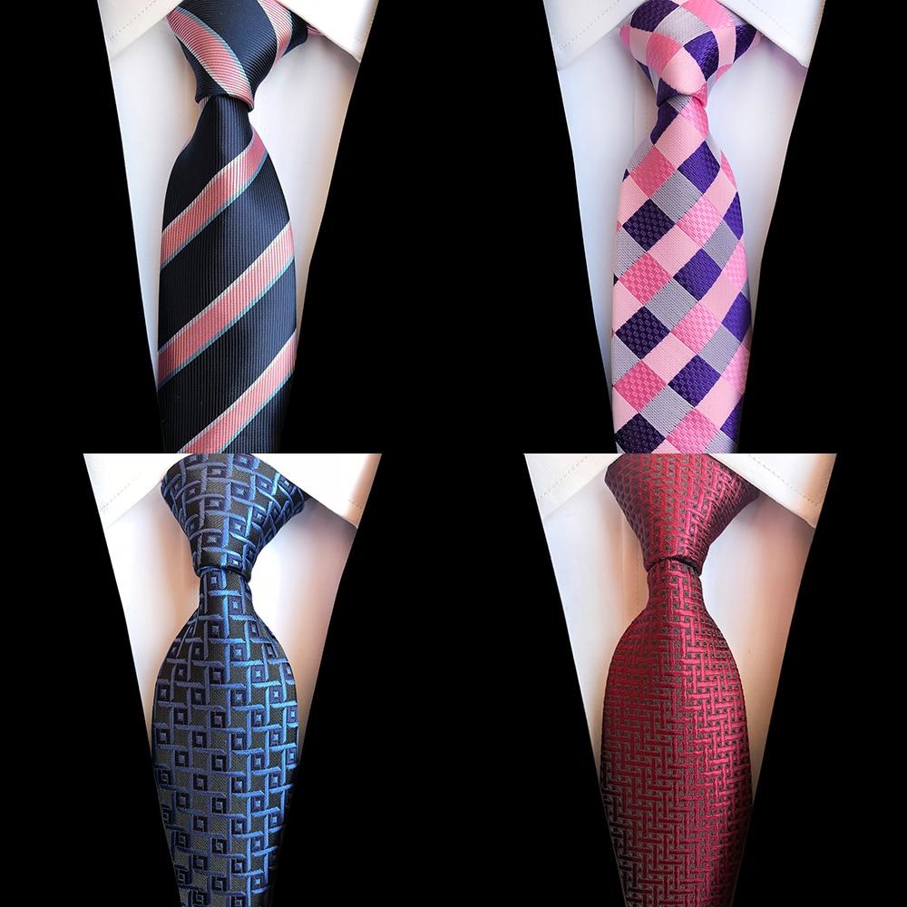 Ricnais Silk Men Tie 8cm Plaid Paisley Necktie For Men Navy Blue Neck Ties Classic Wear Business Wedding Tie Party Gravatas