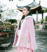 Women Vintage Lolita Pink Cloak Winter Embroidered Hooded Cape Coat Party Cosplay Costume 76cm Length