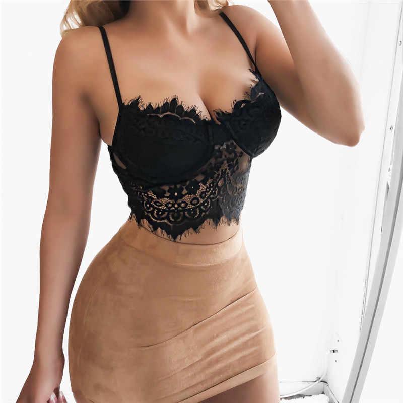 Feitong מכירה לוהטת סקסי יבול למעלה נשים פרחוני תחרת Bralette Bustier אופנה למעלה גבוהה באיכות נשים גופייה dentelle