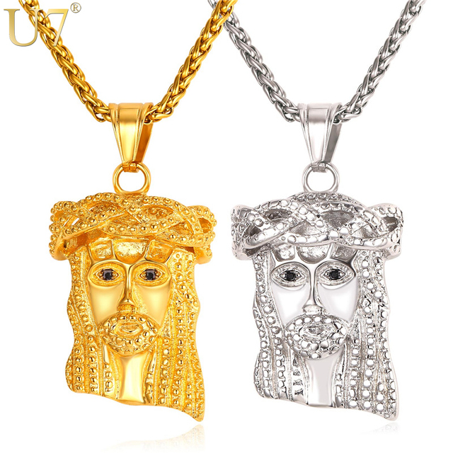 e48bc2bea237 U7 Jesús cristiano collar plata oro color acero inoxidable colgante y  cadena hombres mujeres