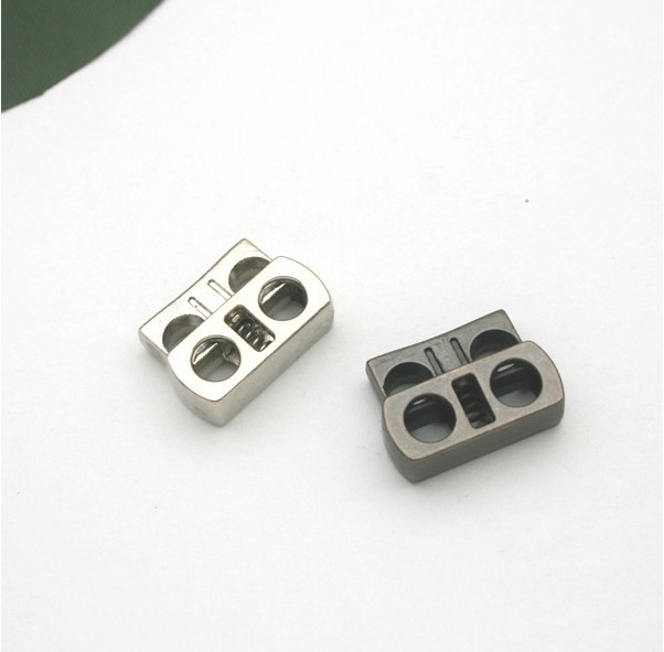 Wholesale Free shipping 40pcs/lot 17*16mm square metal alloy stoppers toggle cord locks Drawstring lock with 4mm holes STP-011