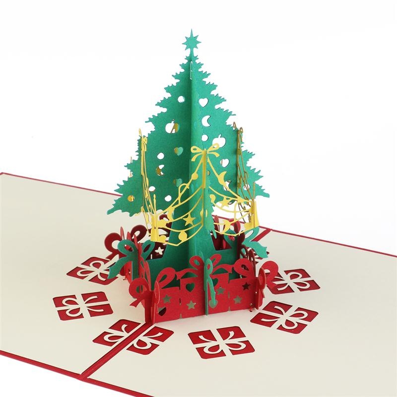 3d pop up christmas tree greeting cards for gift collection congraduation card handcraft red in party