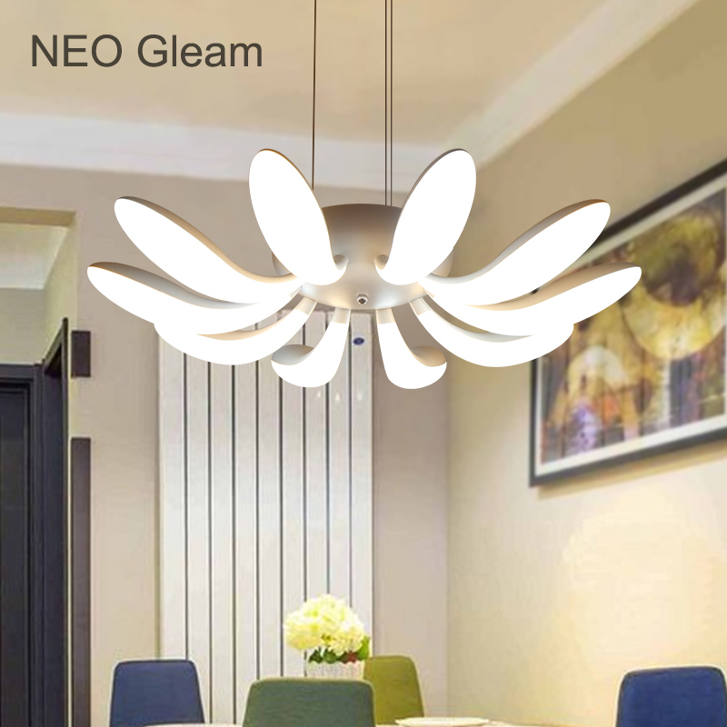 NEO Gleam RC+Dimming White Color Led Hanging Pendant Lights For Dining Room Kitchen Living Room Modern Led Pendant Lamp lampen lemonmiyu long infants boy trousers elastic waist cotton baby jeans full length pants newborn cartoon mid casual spring pants