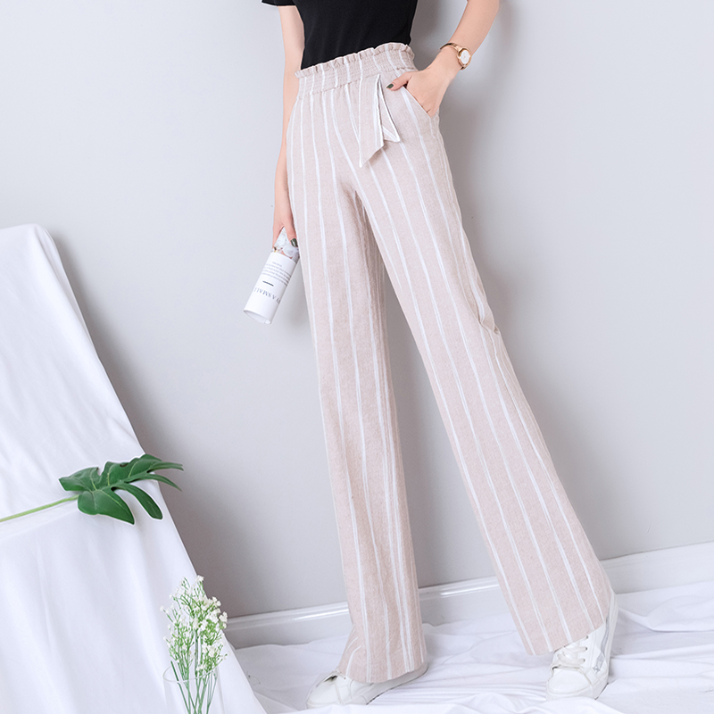 Cotton Linen   Wide     Leg     Pants   Women Summer High Waist Striped Full Length Minimalist   Pants   Woman Gothic Plus Size Palazzo Trousers