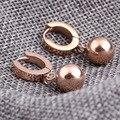 Romantic Rose Gold Plated Fashion Stainless steel Earrings Jewelry Women's Cubic Zirconia Hoop Earrings