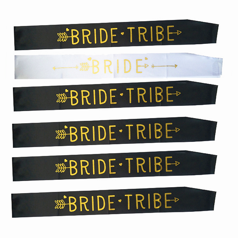 6pcs Bride Tribe Bachelorette Party Bridesmaid Hen to be Sash Bridal Shower Fun Team Wedding Decor