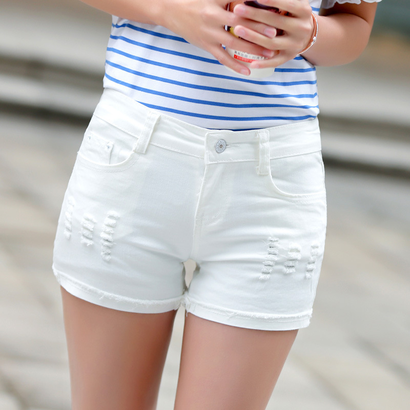 Summer new white waisted Jean Shorts female Korean hole casual shorts slim slim pants size totally corn cookbook