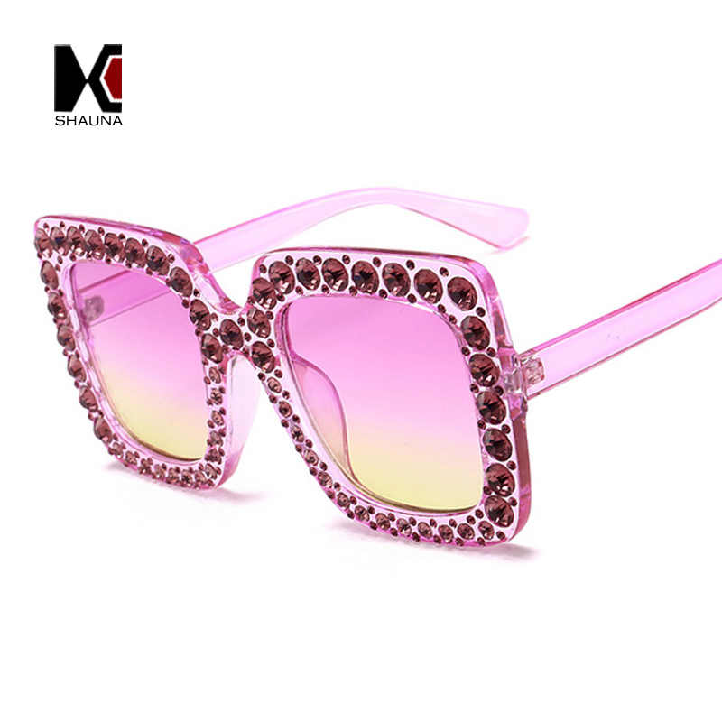 073d75756131 ... SHAUNA Luxury Crystal Decoration Oversize Frame Women Square Sunglasses  Fashion Ladies Gradient Lens Glasses UV400 ...