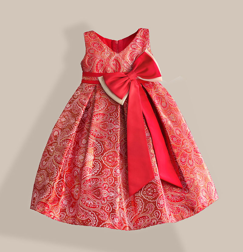 Red Big Bow Girls Dress For New Year Gold Bronzing Cotton Keen-length V-Neck Kids Party Dresses Size 3-8T