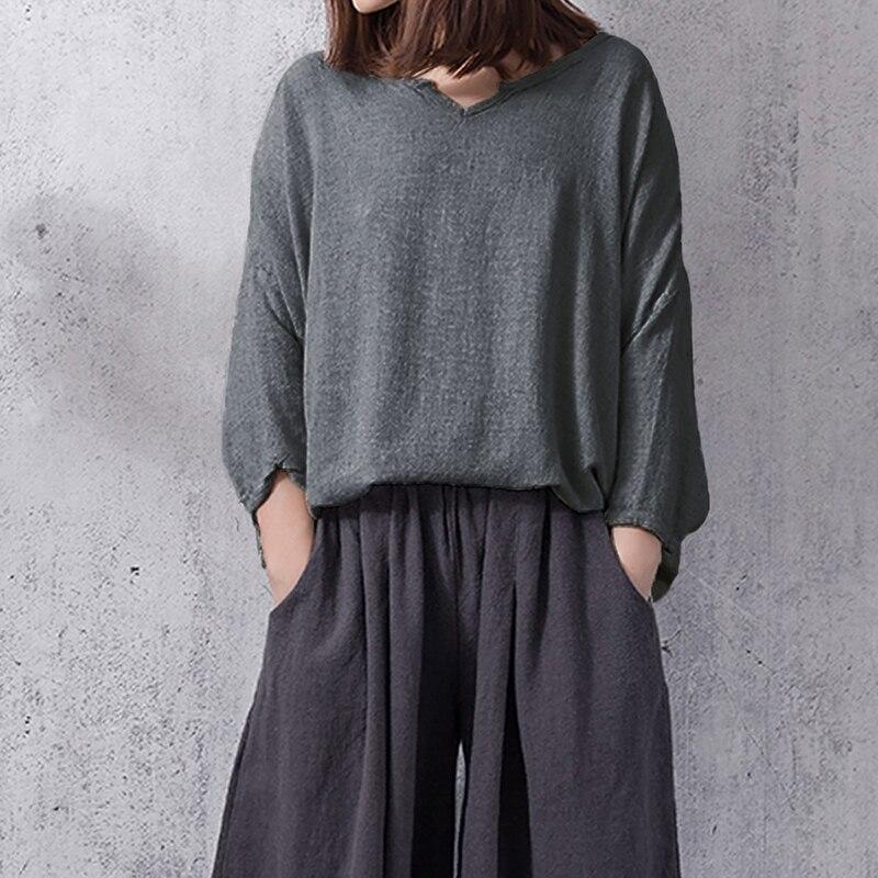 2018 Women Top Autumn Vintage Cotton Long Sleeve V-neck Solid Female Shirts Oversized Casual Blouses Loose Plus Size Blusas